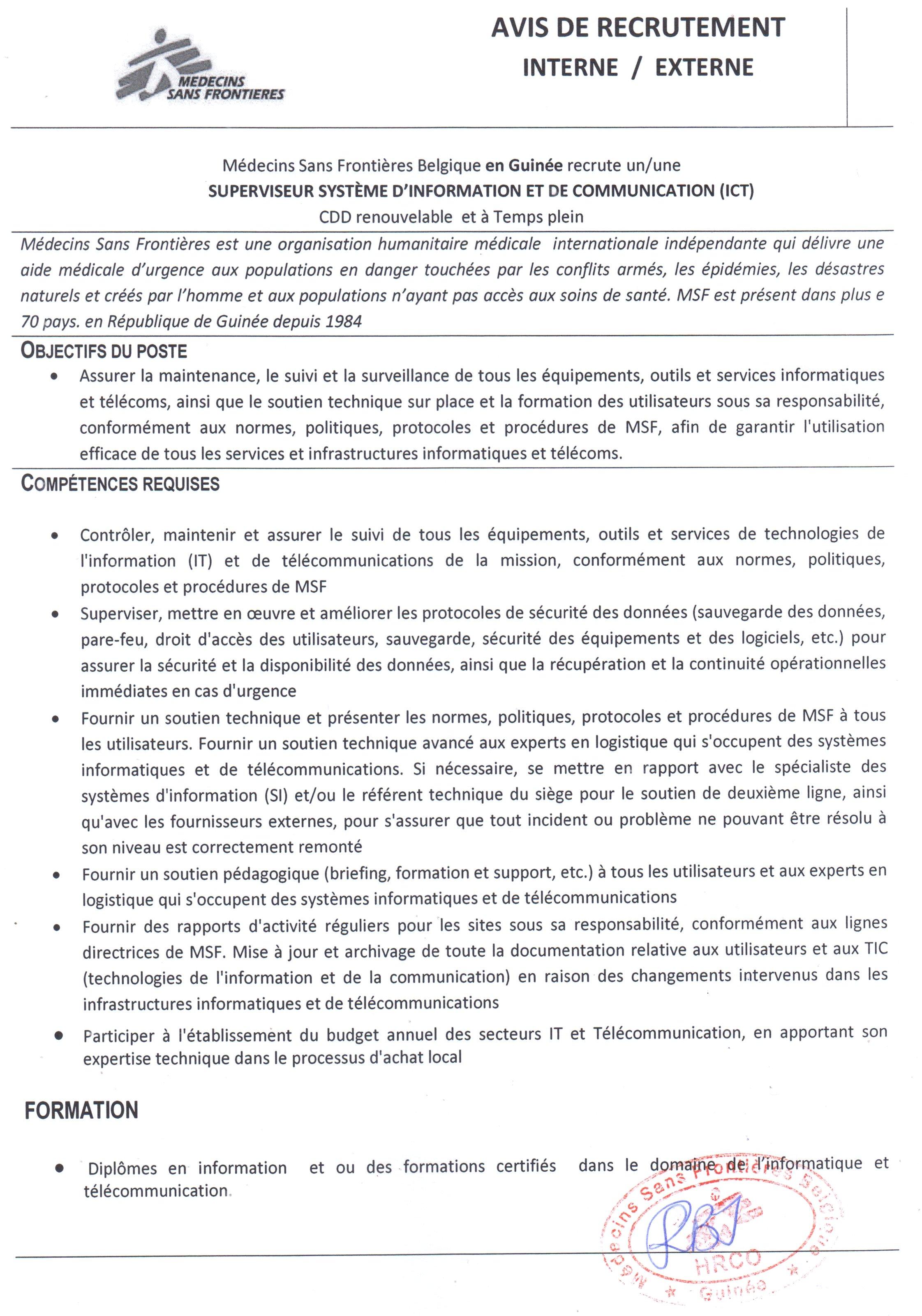 Recrutement d'Un Superviseur Système d'Information et de Communication (ICT) - medecin sans frontière page : 1