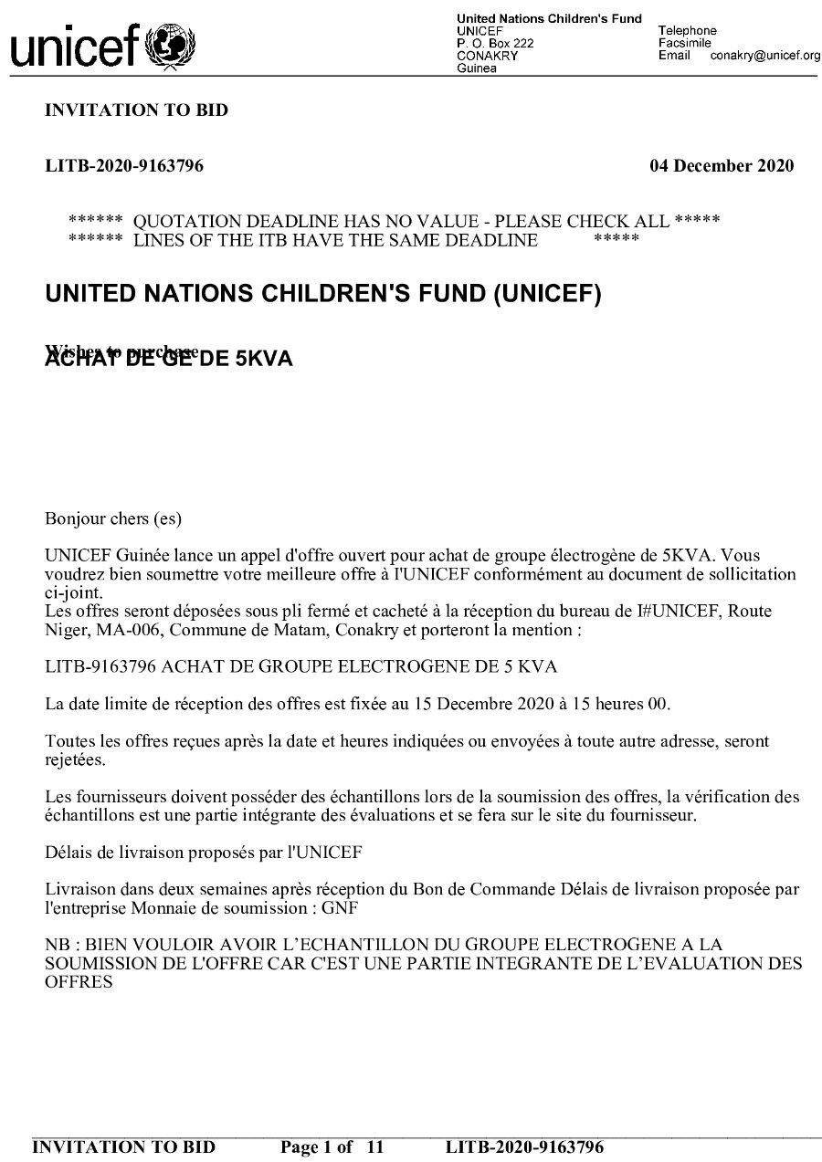 Appel d'Offres Unicef en guinée, Achat de groupe électrogène