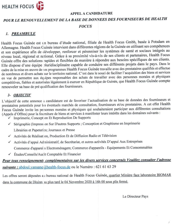 Health Focus recrutement en Guinée - Appels d'offre sur digijob