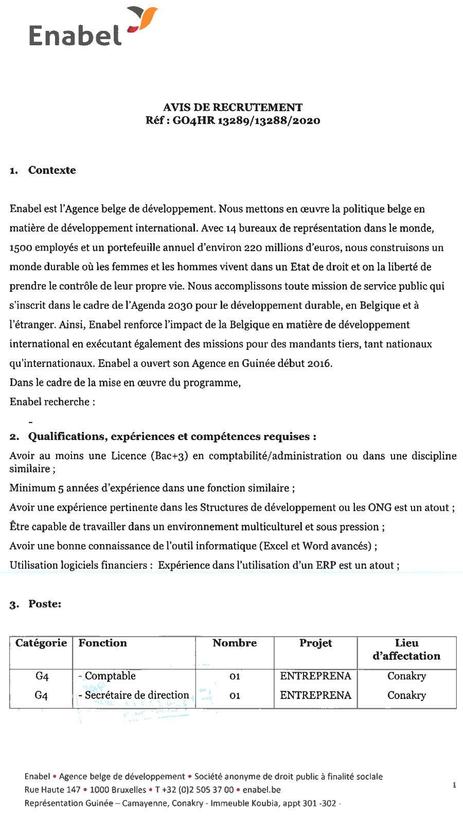 Offres d'emploi enabel en guinée p.1