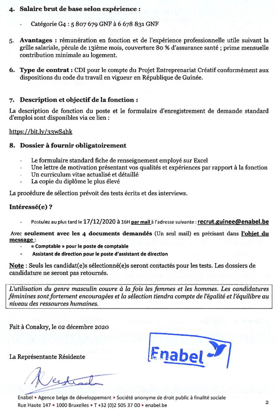 Offres d'emploi enabel en guinée p.2