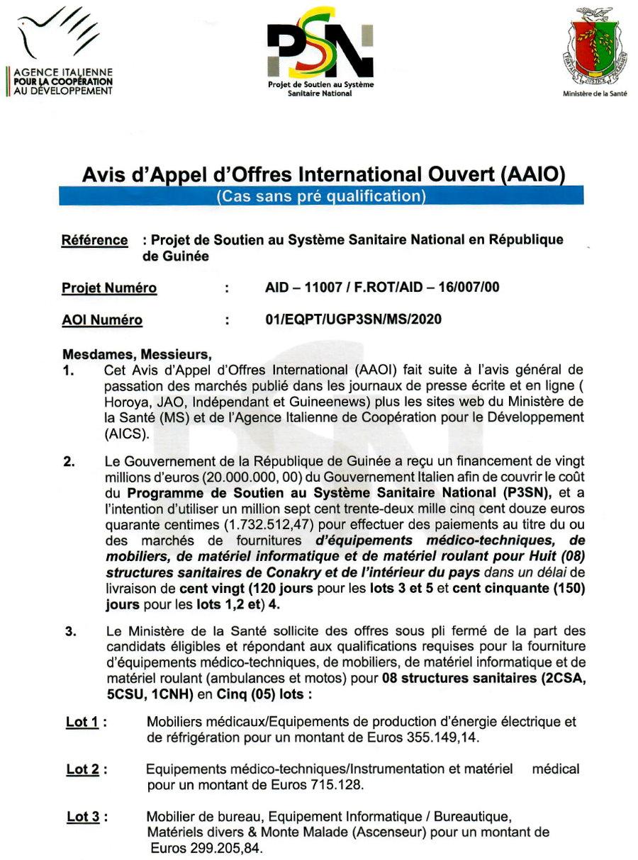 Avis d'Appel d'Offres International ouvert (AAIO) pour le Marché de Fourniture, Ministère de la Santé p.1
