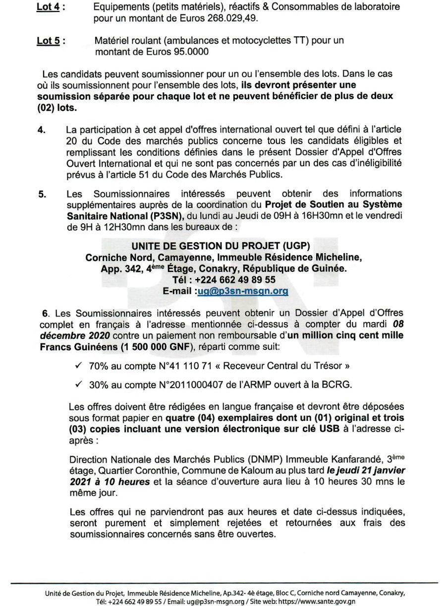 Avis d'Appel d'Offres International ouvert (AAIO) pour le Marché de Fourniture, Ministère de la Santé p.2