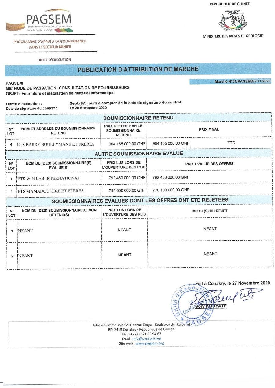 Publication d'attribution de Marché en guinée - Pagsem 4