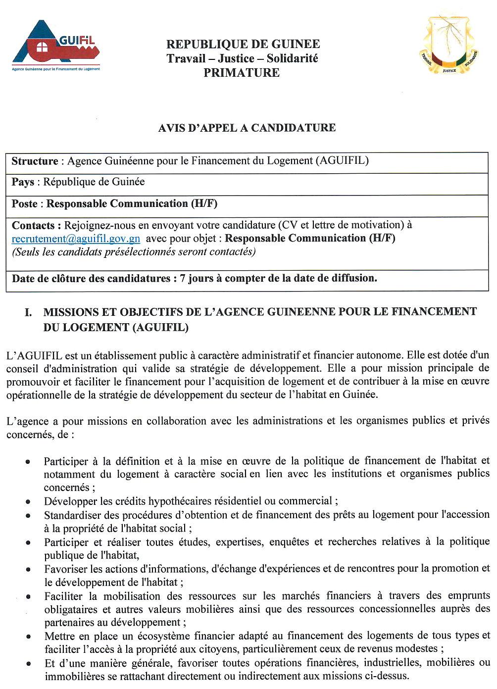 Recrutement en guinée - Aguifil p.1