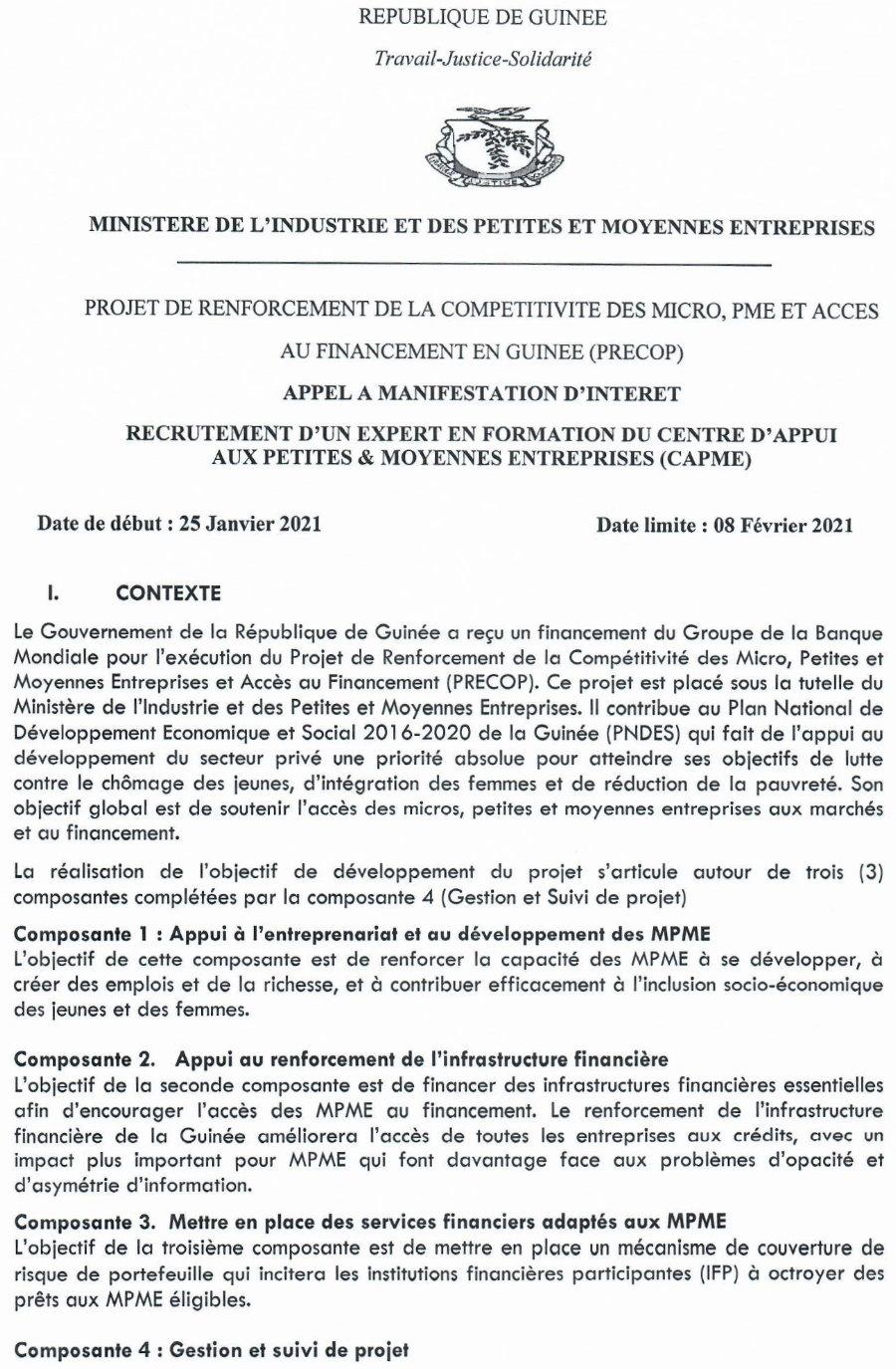 Offres d'emplois en guinée 2021